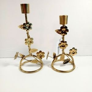 2 Gold Metal Floral Taper Candle Holders Md. Sm.
